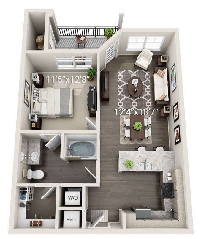 1 Bedroom 1 Bath (A3)