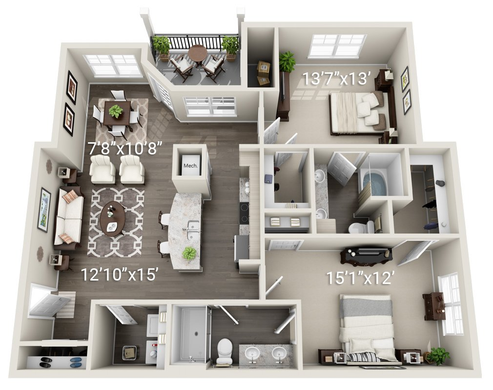 2 Bedroom 2 Bath (B2)