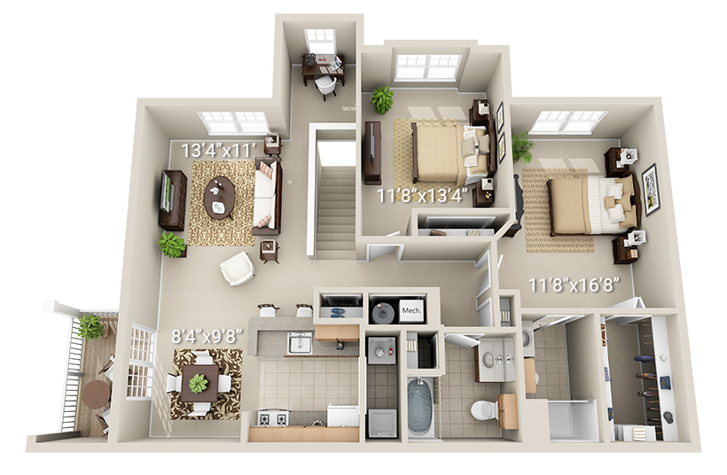 2 Bedroom 2 Bath (J2)