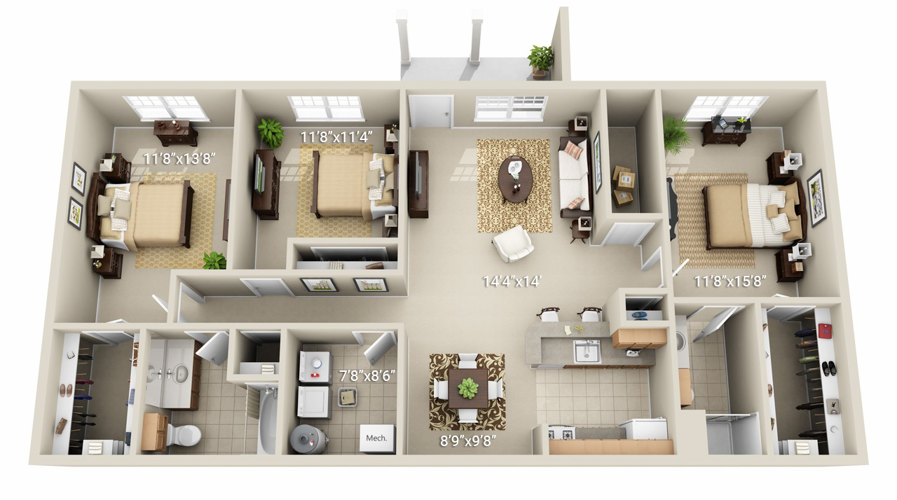 3 Bedroom 2 Bath (Q1)