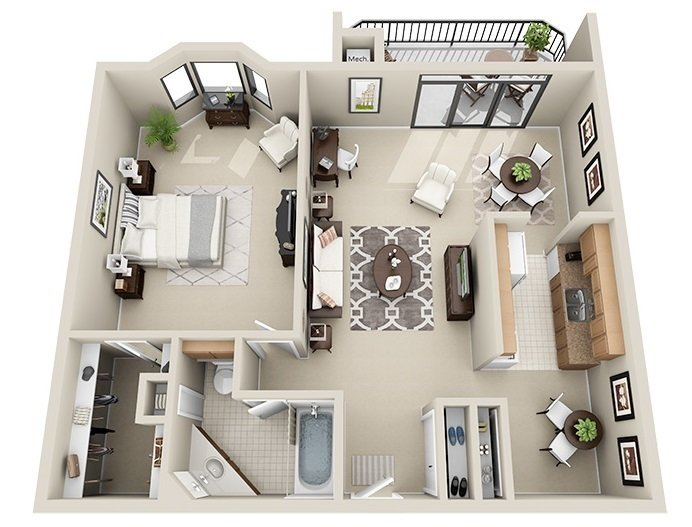 1 Bedroom 1 Bath <br>(2 Layouts Available)<!--(B-1 Version A)-->