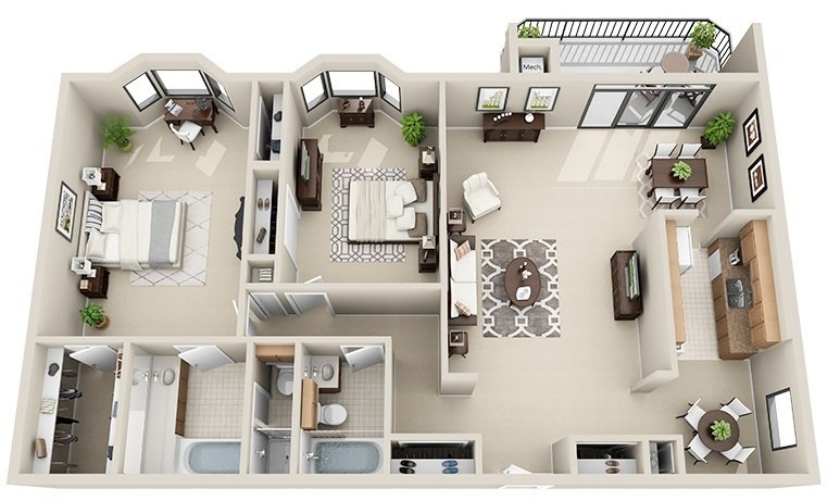 2 Bedroom 2 Bath <BR>(3 Layouts Available)<!--(B-1 Version A)-->
