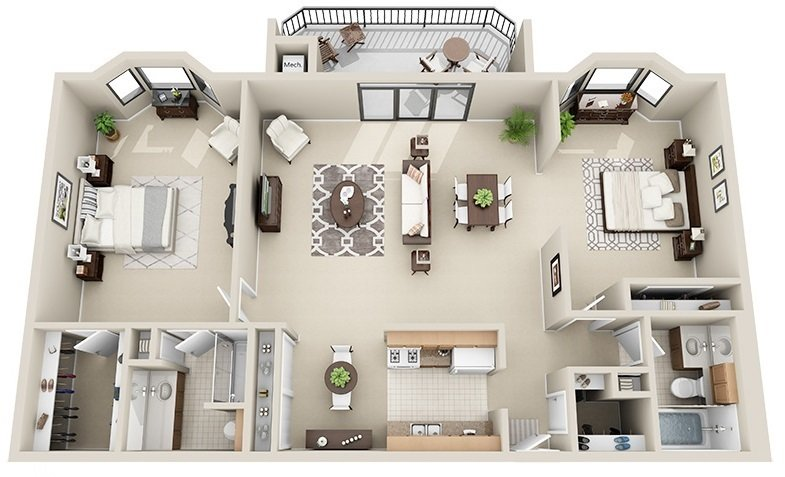 2 Bedroom 2 Bath Split <br>(3 Layouts Available)<!--(B-1 Version C)-->