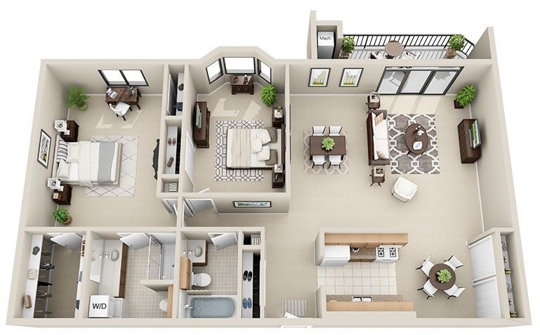 2 Bedroom 2 Bath<br>(3 Layouts Available)<!--(B-2 Version A)-->