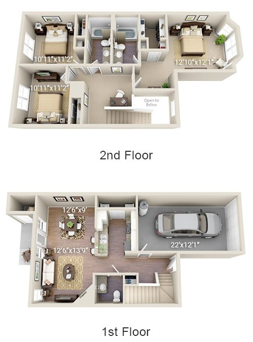 3 Bedroom 2 Bath (3TH)