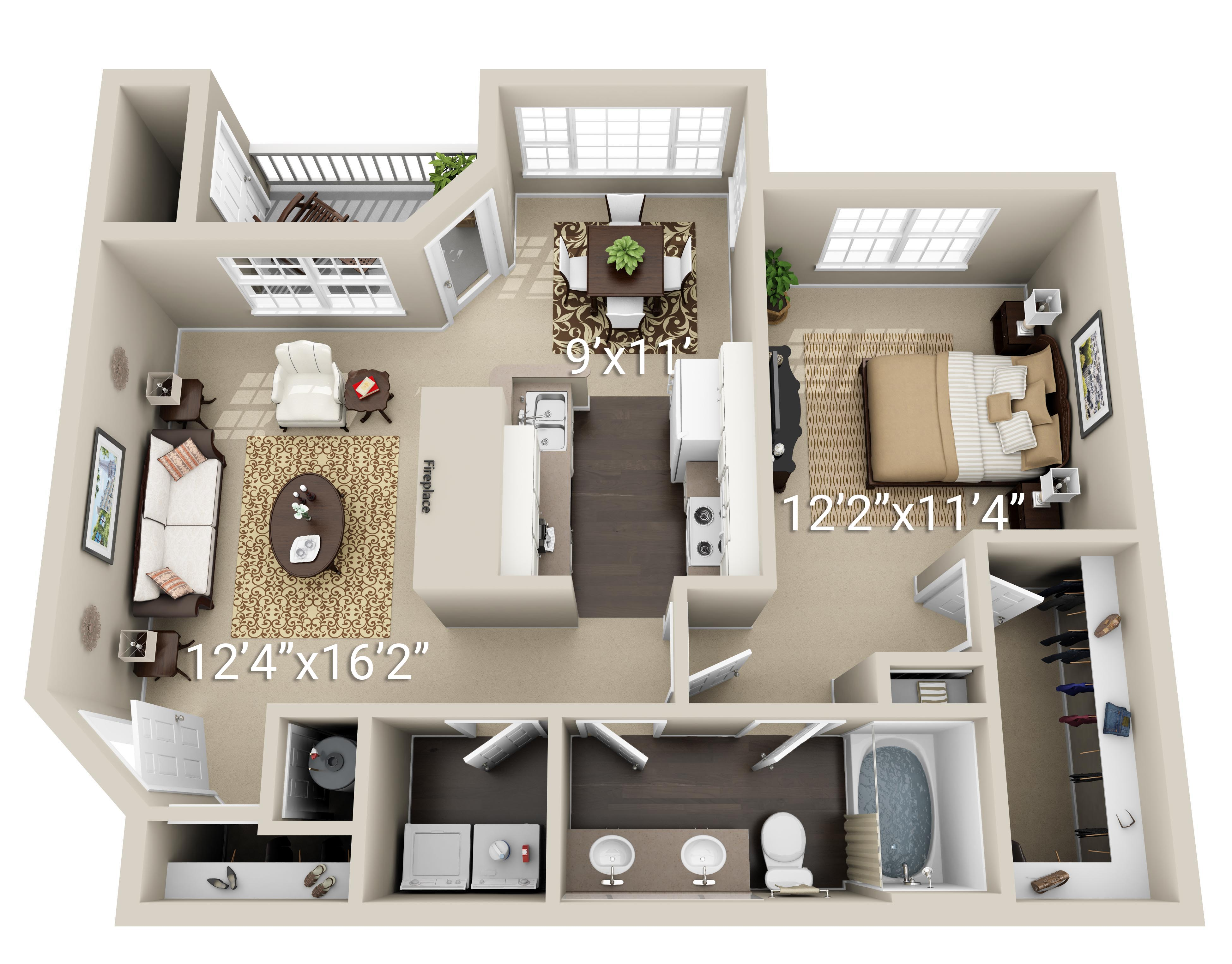 1 Bedroom 1 Bath w/ Dining Room (1D)