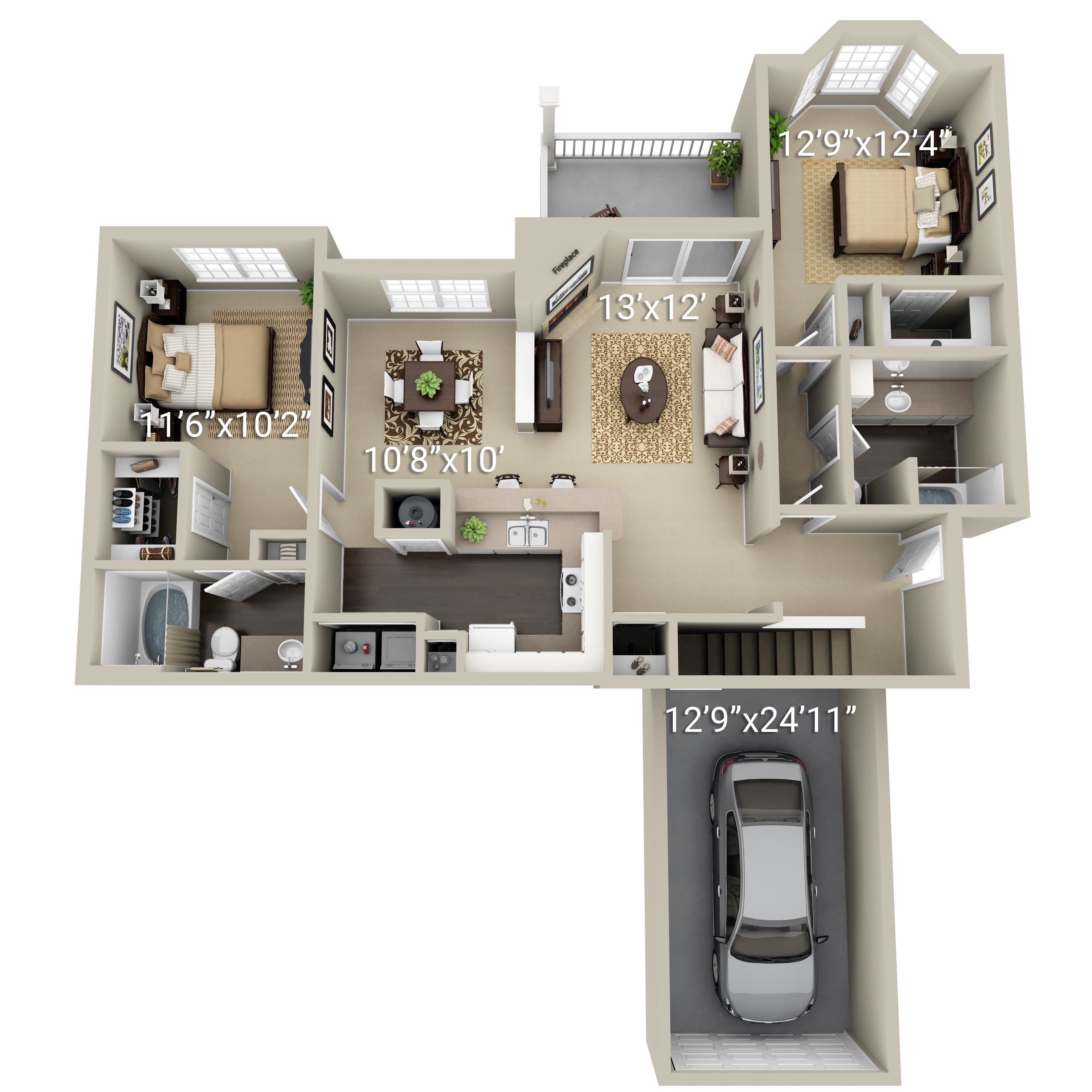 2 Bedroom 2 Bath (2G)