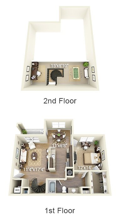 1 Bedroom 1 Bath Plus Loft Garden (1BL)