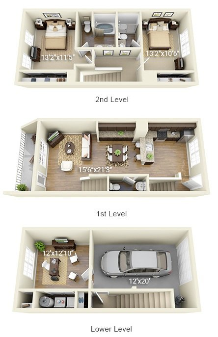2 Bedroom 2.5 Bath Townhome<br>(2TH - 2 Layouts Available)