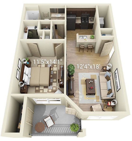 1 Bedroom 1 Bath A1 (Phase 1)