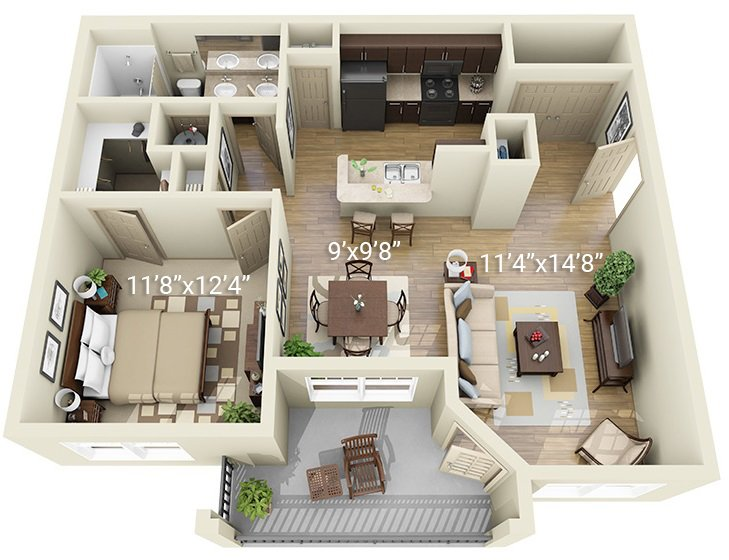 1 Bedroom 1 Bath A2 (Phase 1)