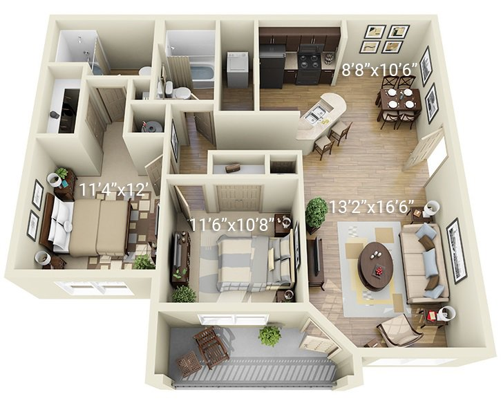 2 Bedroom 2 Bath B1 (Phase 1)