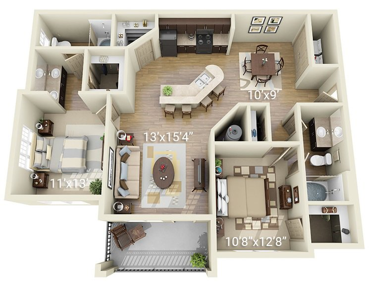 2 Bedroom 2 Bath B2 (Phase 1)