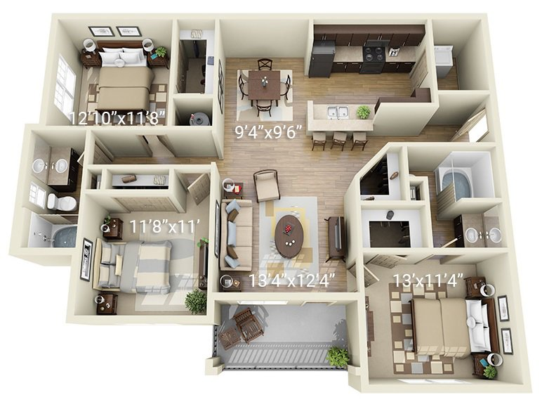 3 Bedroom 2 Bath C1 (Phase 1)