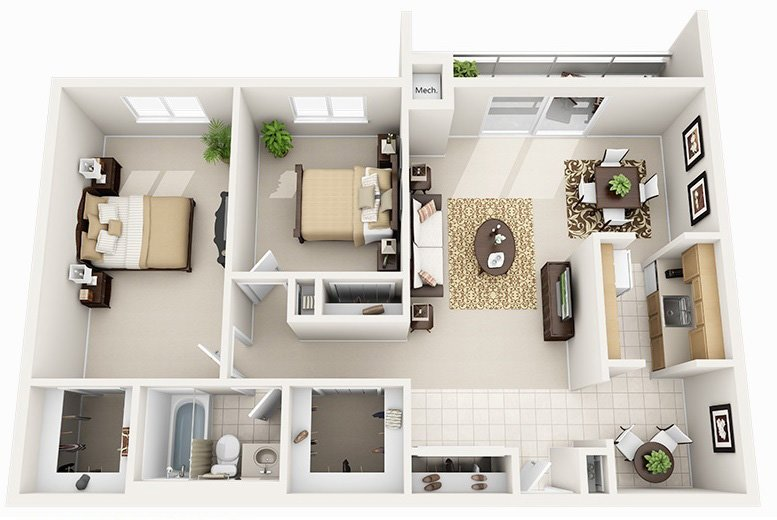 2 Bed 1 Bath (4 Layouts Available)