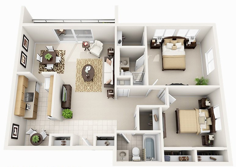 2 Bed 2 Bath (5 Layouts Available)
