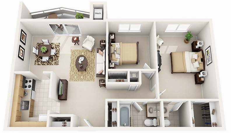 2 Bed 1.5 Bath (5 Layouts Available)