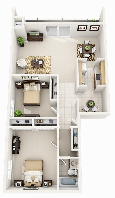 2 Bedroom 1 Bath Highrise