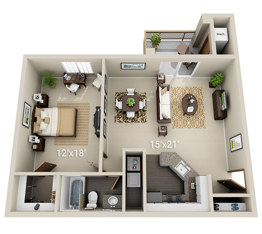 Meadows - 1 Bedroom 1 Bath