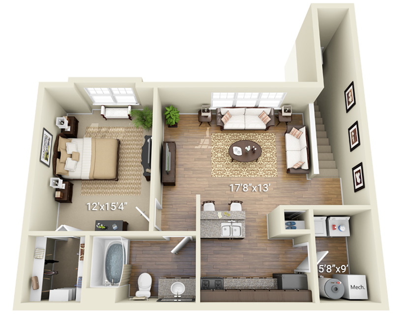 1 Bedroom 1 Bath (P3)