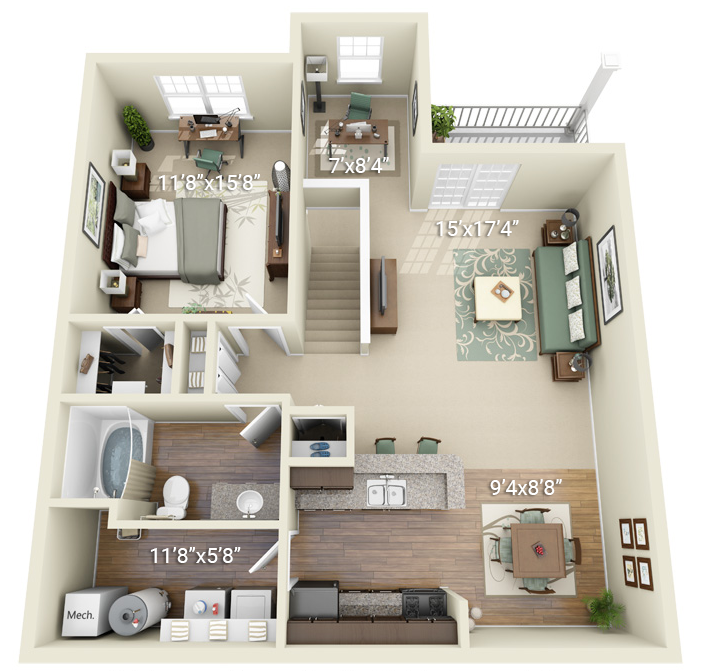 1 Bedroom 1 Bath (P2)