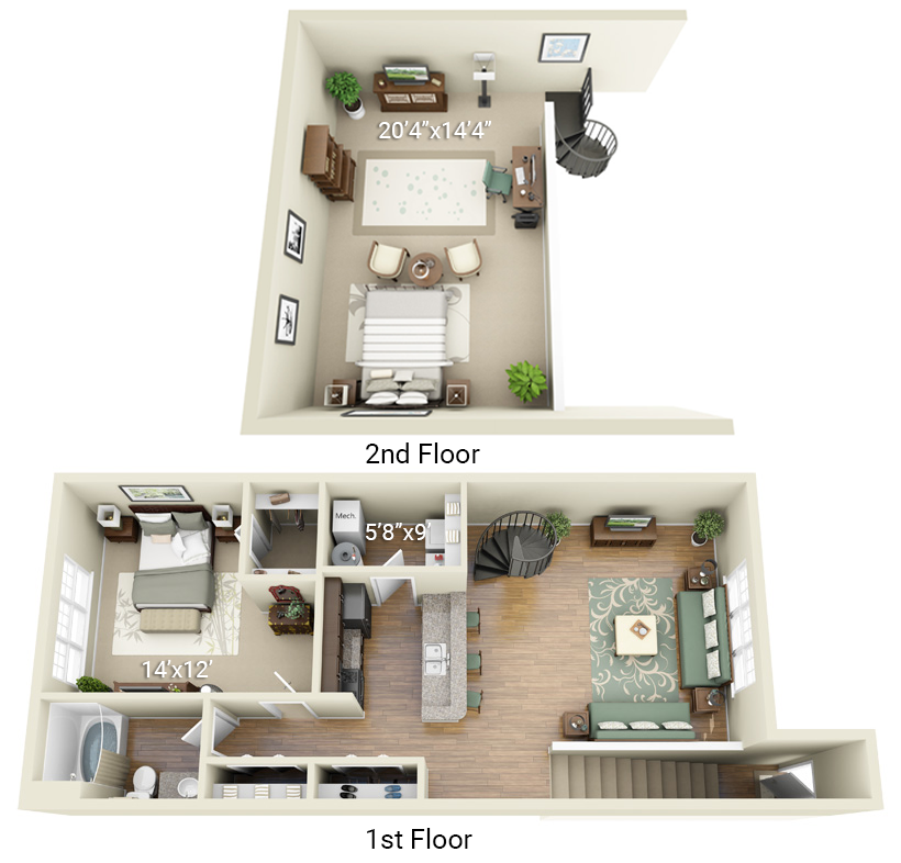 1 Bedroom 1 Bath with Loft (P4)