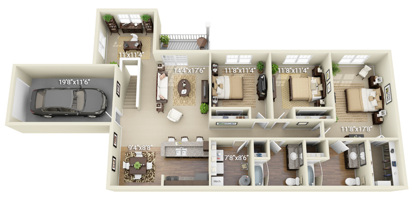 3 Bedroom 2 Bath (Q4)