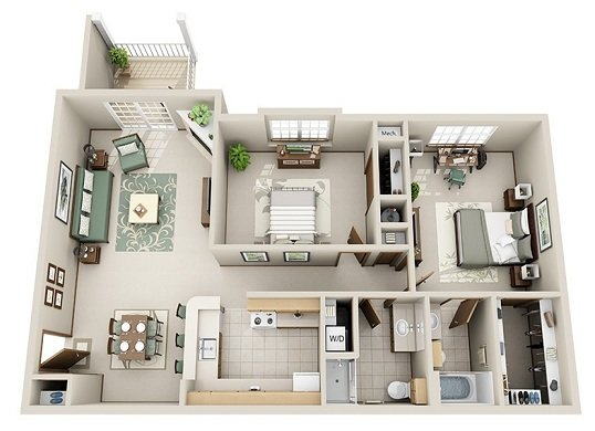 2 Bedroom 2 Bath (C)
