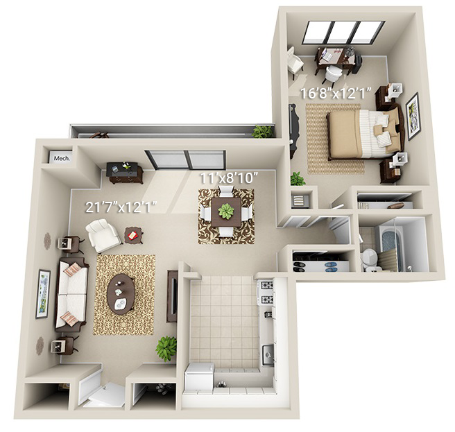 1 Bedroom 1 Bath (1D)