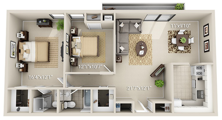 2 Bedroom 2 Bath (2D) <br>(2 Layouts Available)