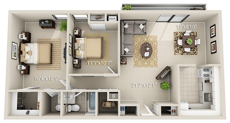 2 Bedroom 1.5 Bath (2HS)