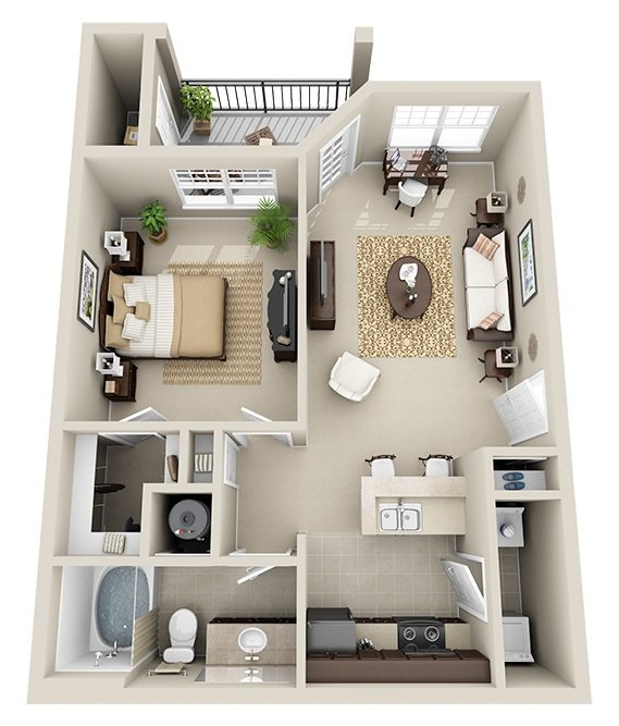 1 Bedroom 1 Bath (A1)