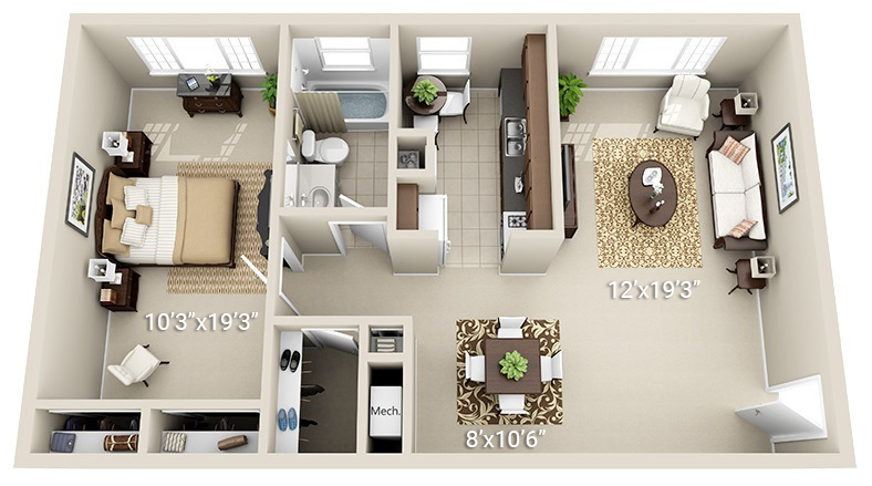 1 Bedroom 1 Bath (Garden, 2 layouts available)