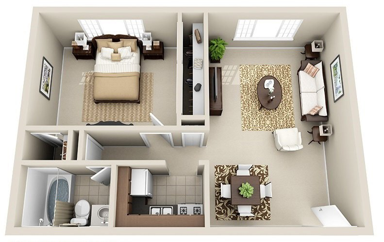 1 Bedroom 1 Bath (9 Layouts available)