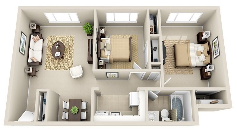 2 Bedroom 1 Bath (4 Layouts Available)