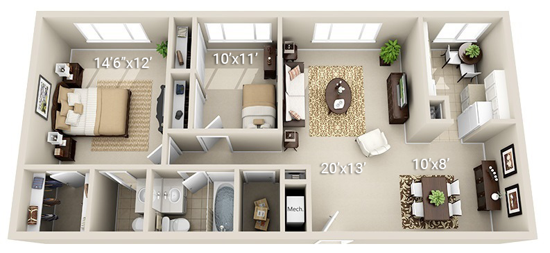 2 Bedroom 1.5 Bath (3 Layouts Available)