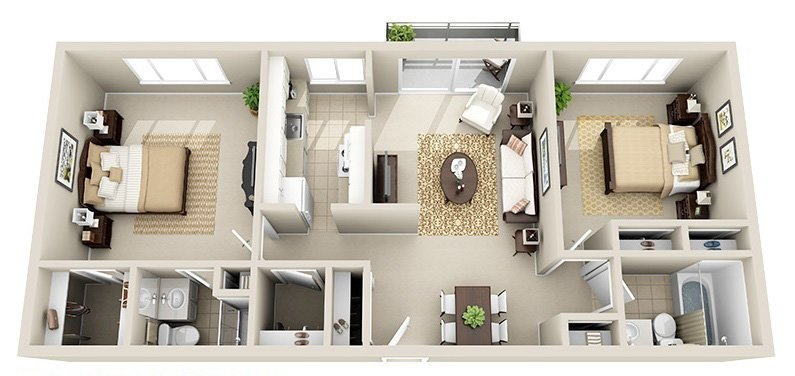 2 Bedroom 2 Bath (5 Layouts Available)