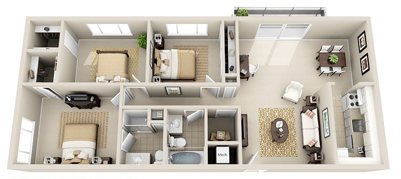 3 Bedroom 2 Bath (3 Layouts Available)