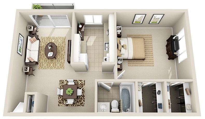 1 Bedroom 1 Bath C (Highrise)