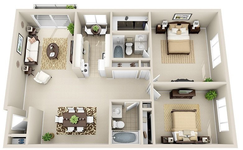 2 Bedroom 2 Bath C (Highrise)
