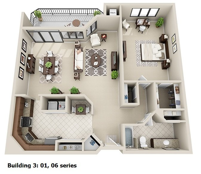 1 Bedroom 1 Bath <br>(3 layouts available)<!--(B-3 Version A)-->