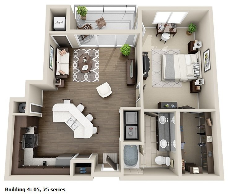 1 Bedroom 1 Bath<br>(4 Layouts Available)<!--(B-4 Version A)-->