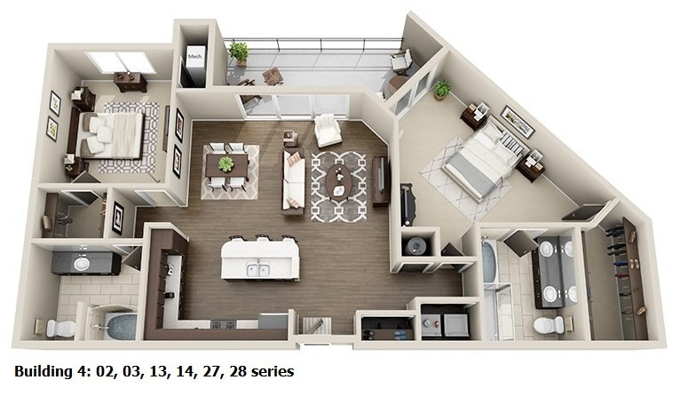 2 Bedroom 2 Bath Split<br>(2 Layouts Available)<!--(B-4 Version A)-->