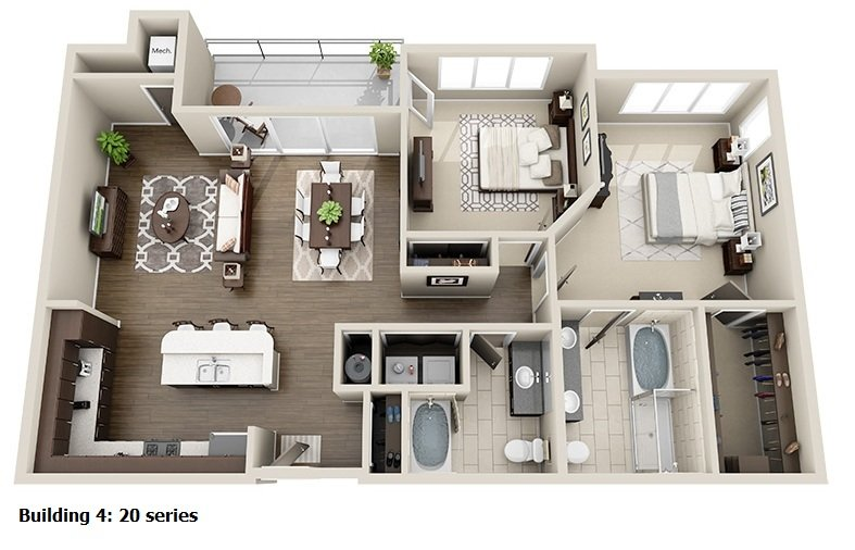 2 Bedroom 2 Bath<br>(5 Layouts Available)<!--(B-4 Version A)-->