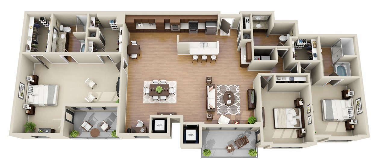 3 Bedroom 2.5 Bath <br>Infinity Suite<!--(B-4 Version B)-->