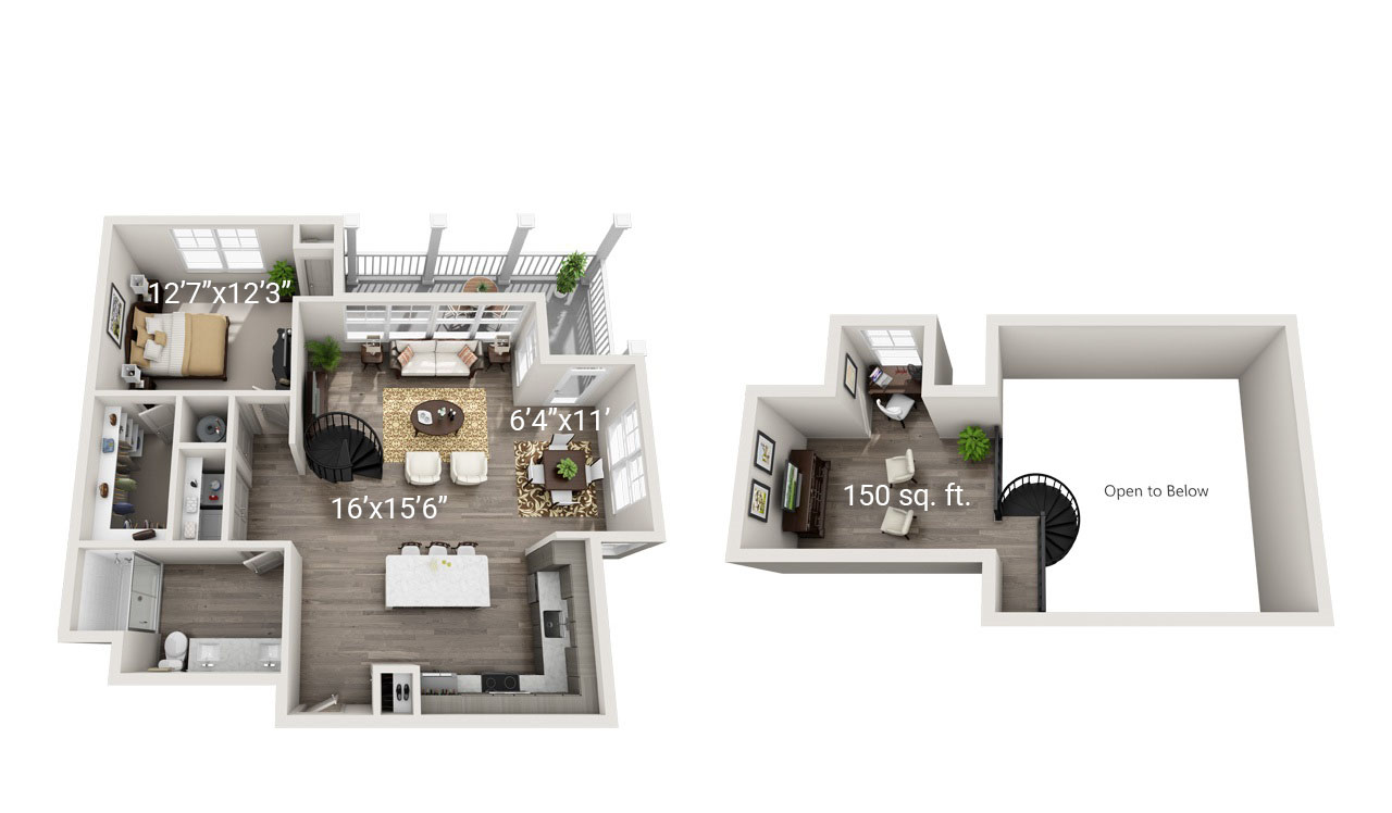1 Bedroom 1 Bath Loft<br>(A2) - Third Floor