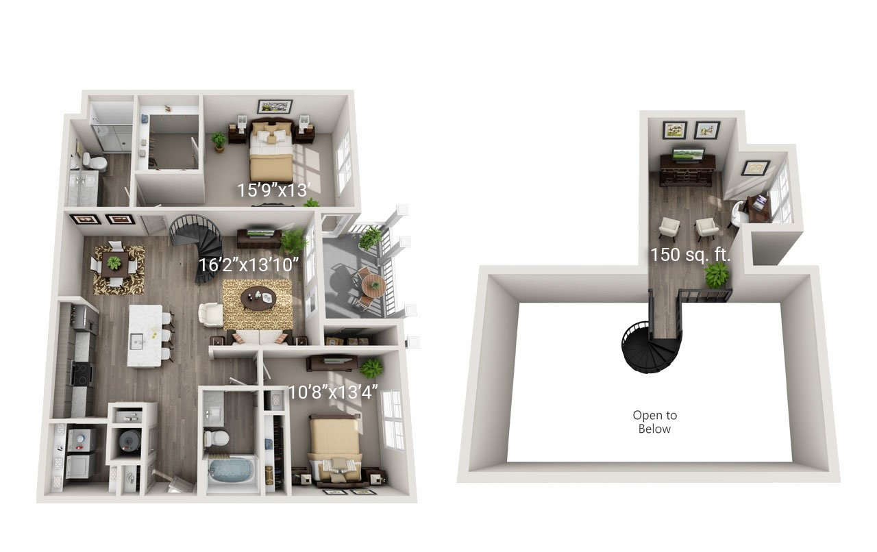 2 Bedroom 2 Bath Loft<br>(B2) - Third Floor