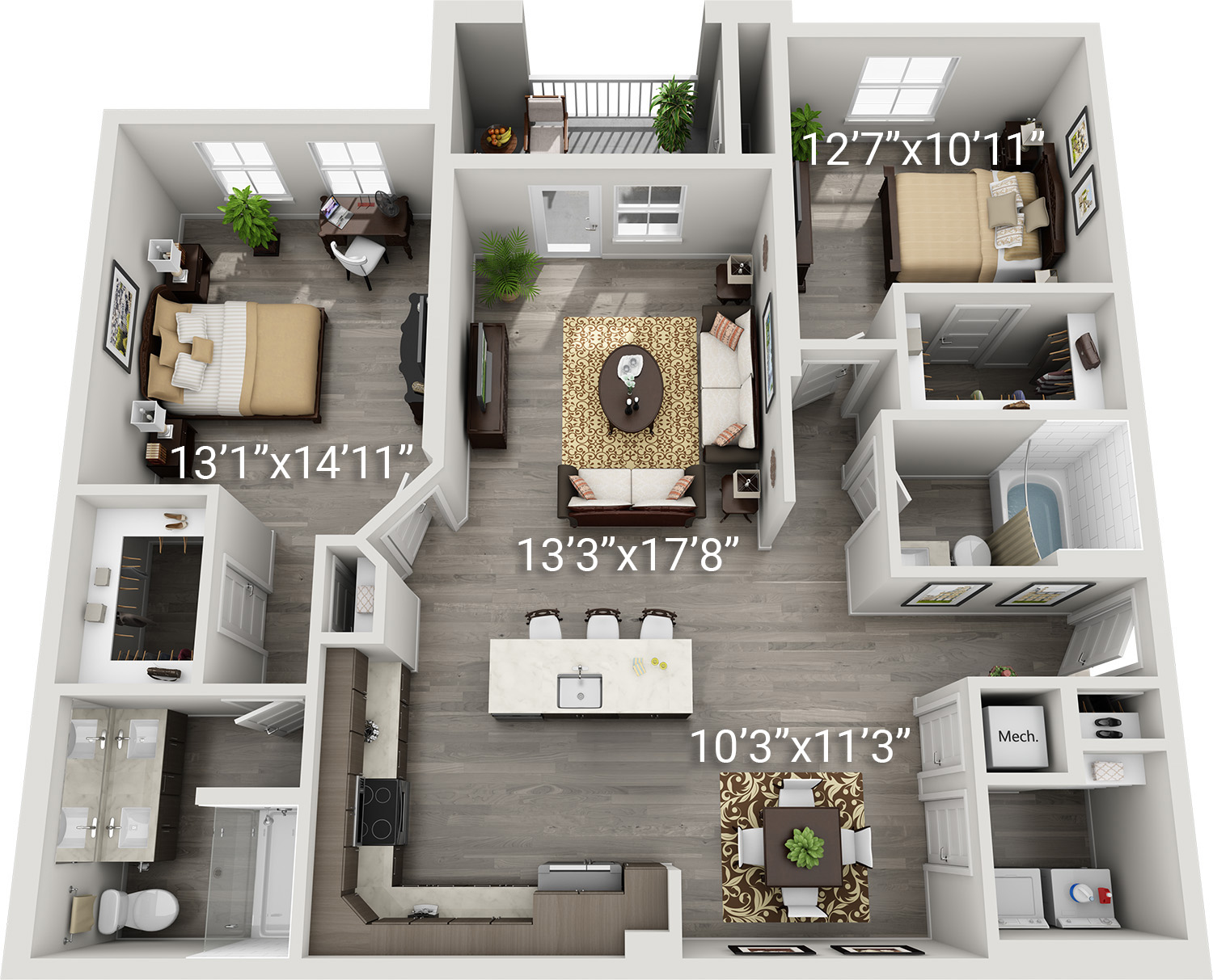 2 Bedroom 2 Bath<br>(Buccino - B5)