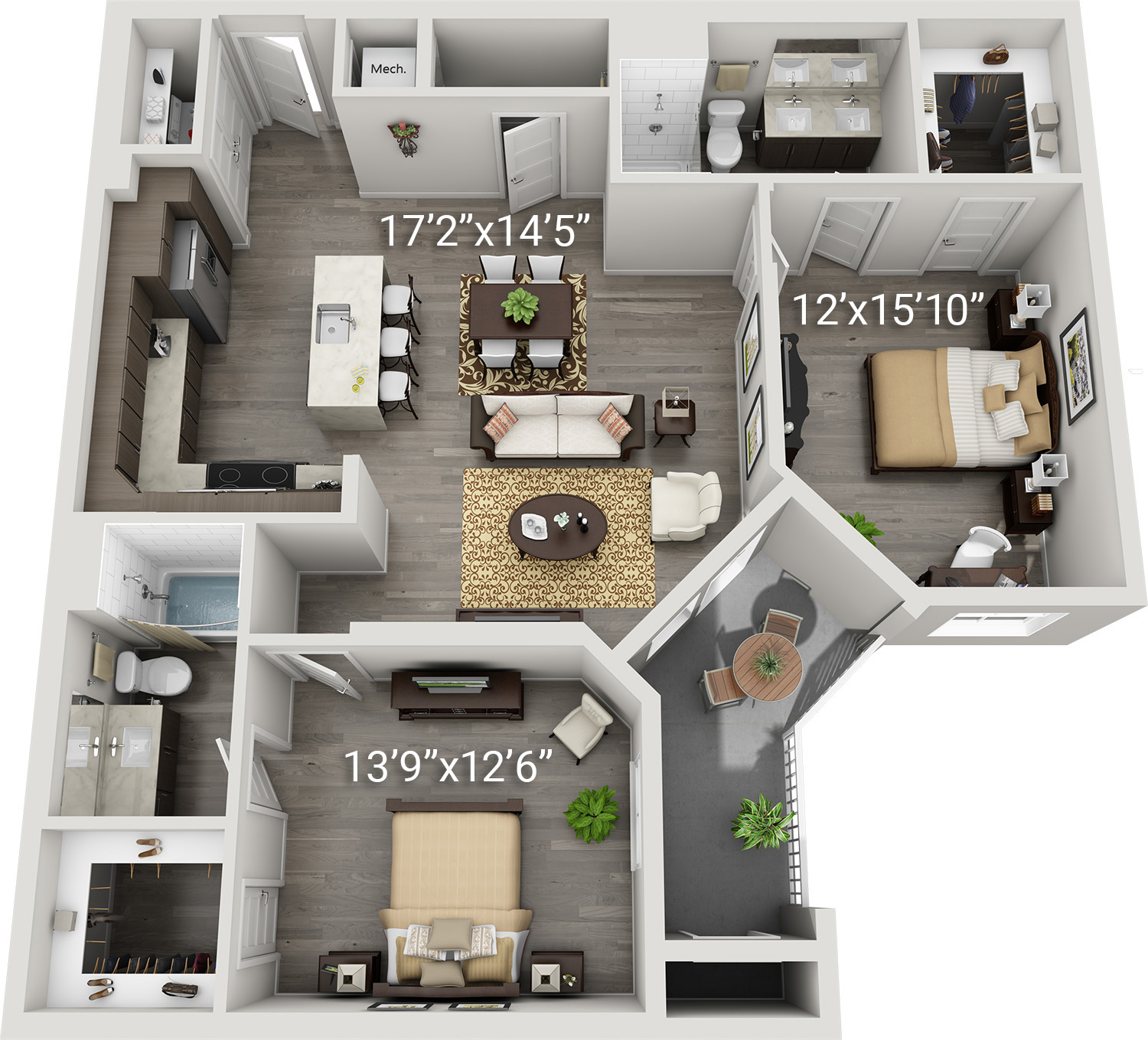 2 Bedroom 2 Bath<br>(Baronissi - B1)