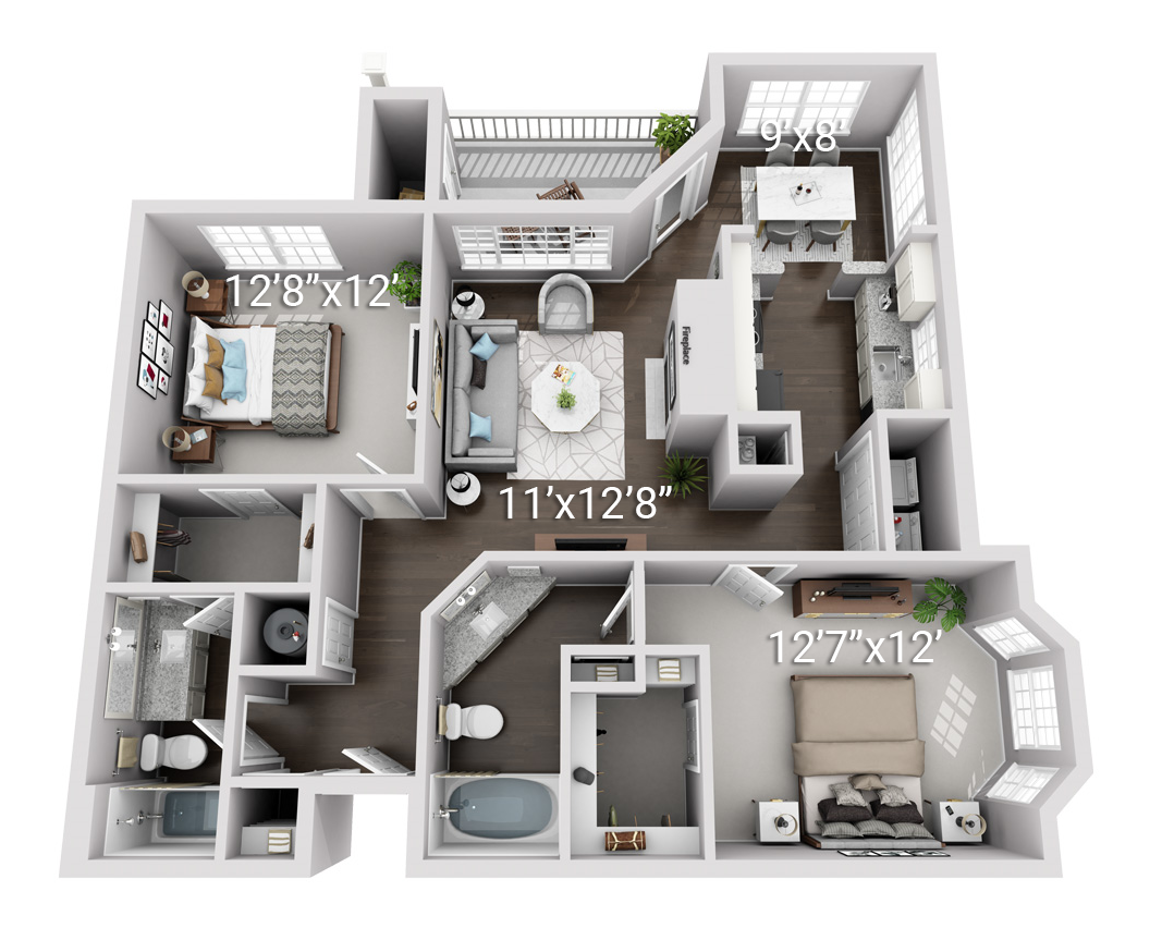 Signature Series: 2 Bedroom 2 Bath (2BS)